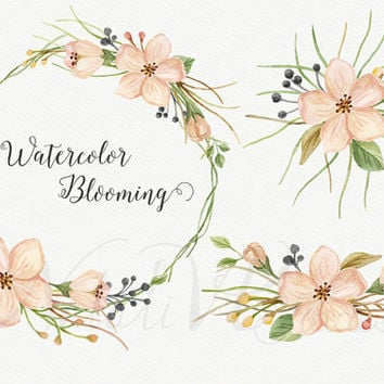 Watercolor blooming. Hand painted floral spring set. Flowers elements. Digital Clipart