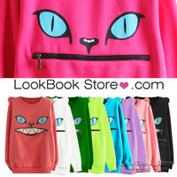 Lookbookstore Women Coloured Zip Month Smile Shoulder 3D Ear Cat Front Jumper Sheatshirt Top @lookbookstore #lookbookstore
