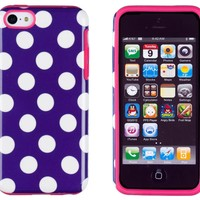 DandyCase 2in1 Hybrid High Impact Hard Purple Polka Dot Pattern + Silicone Case Cover For Apple iPhone 5C + DandyCase Screen Cleaner