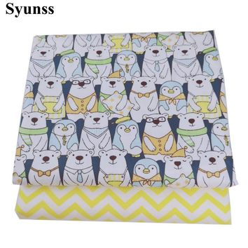 Syunss Cute Cartoon Bear Print Twill Cotton Fabric DIY Handmade Sewing Patchwork Baby Cloth Bedding Textile Quilting Tilda Tissu