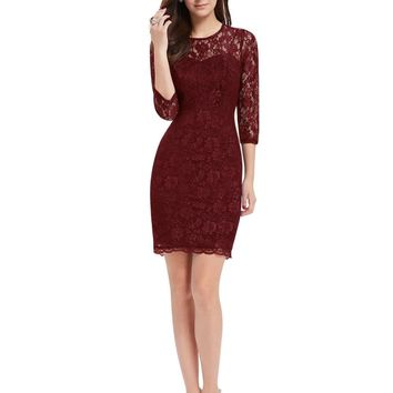 Cocktail Dresses Ever Pretty EP03792 Special Occasion Fashion Women Long Sleeve Slim Fit Elegant Lace 2017 Cocktail Dresses
