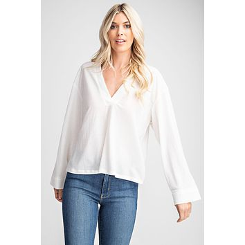 Split Neck High-Low Top - White