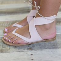 Thong Ankle Wrap Sandal - Blush