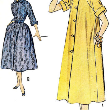 """1950s Misses Duster Dress Vintage Sewing Pattern, McCall's 9721 bust 32"""""""