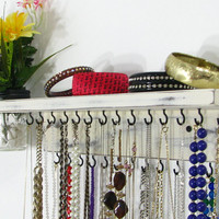 Wall Hanging Necklace Organizer with shelf and wall vase