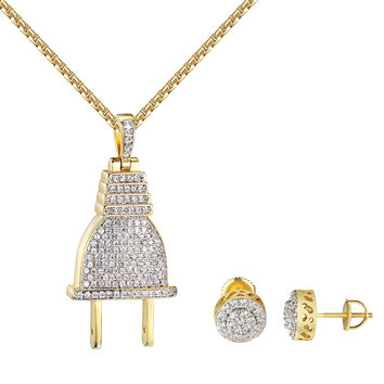 14k Gold Finish Switch Plug Pendant Simulated Diamond Earrings Chain Iced Out
