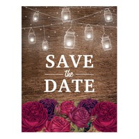 Rustic Burgundy Red Floral Save the Date Postcard