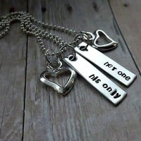 Her one - His only - Stamped Couples Necklace Set