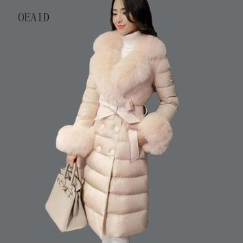 Large fur collar Down coat female 2017 winter down jacket women jackets and coats long thickening slim ladies coats outerwear