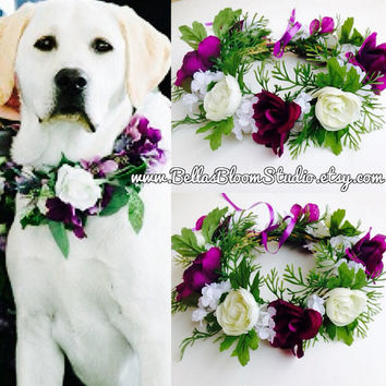 Dog Of Honor Dog wedding collar Pet Wedding Attire Dog flower crown wreath Dog flower girl Dog collar purple dog wedding attire etsy wedding