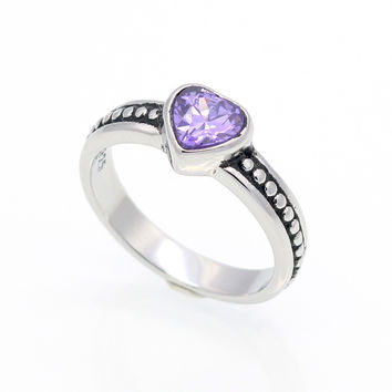 6 Colors Stone Stainless Steel Ring Heart Love Zircon Simulated Diamond Fashion Accessories Women Ring aneiss Engagement Jewelry