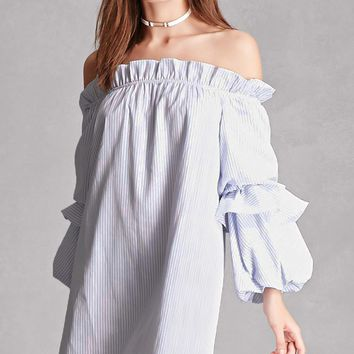 Off-the-Shoulder Pinstripe Dress