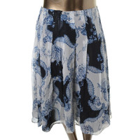 Jones New York Womens Plus Silk Floral Print Pleated Skirt
