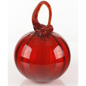 Glass Pumpkin - Original Hand Blown Glass Sculpture by Mariusz Rynkiewicz.