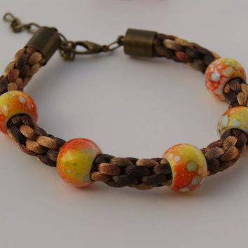 Brown Shades Kumihimo Bracelet, Satin Cord Braided Bracelet and Acrylic Beads.