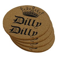 Dilly Dilly Crown Olde English Round Cork Coaster (Set of 4)