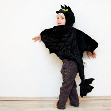 Toothless the Night Fury Costume, Black Dragon Children Costume, Party Costume or Halloween Kid Costume Wings