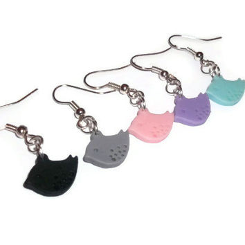 Cute Bird Earrings, Choose 1 Colour, Kawaii Pastel Dangle Earrings, Sparrow