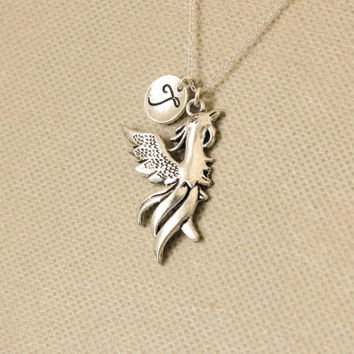 Phoenix Necklace. Firebird necklace. personalized initial necklace. sterling silvr necklace. No.129