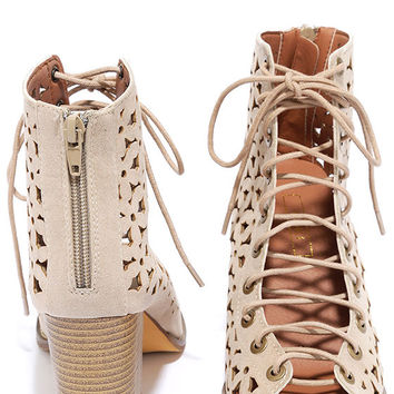 Daisy Fields Beige Suede Cutout Lace-Up Booties