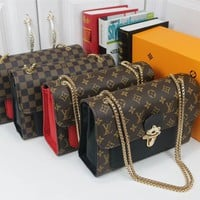 """Louis Vuitton""Fashion Elegant Multicolor Print Chain Package Logo Letter Women Small Bag Crossbody Bag"