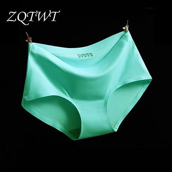 ZQTWT 2017 Top Quality Summer Style Women Sexy Panties Thin Seamless Briefs Ice Silk Underwear Ladies Intimates Calcinha 5WH003