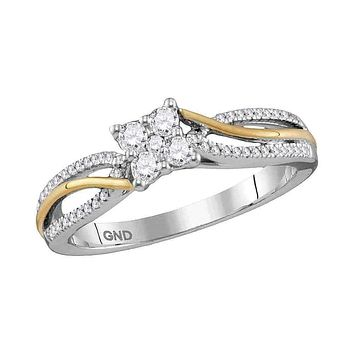 10k 2-tone Gold Women's Diamond Cluster Promise Bridal Ring - FREE Shipping (US/CA)