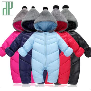 HH Baby Winter Clothes Girl Romper Warm jumpsuit baby overalls Long Sleeve Hooded Outerwear Snowsuit baby boy winter overalls