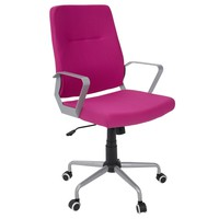 Zip Office Chair Grey, Hot Pink Fabric