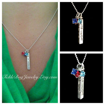 4 Name Swivel Bar Pendant: Sterling Silver Hand Stamped 4 Sided with up to FOUR Swarovski Xilion Square Birthstone Charms!