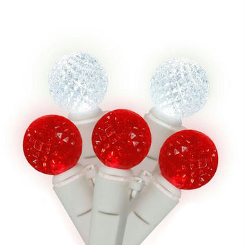 Red And White G12 Christmas Lights - 50 Berry Bulbs On White Wire