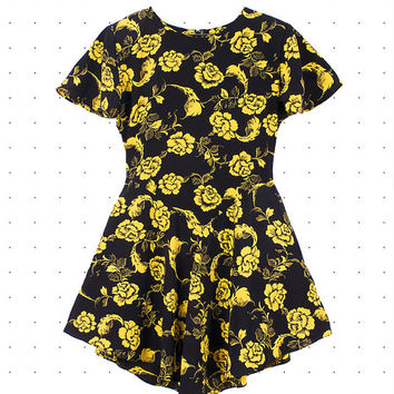 SOLD Vintage 1980s Panache Long Peplum Yellow Roses On Black Pattern Altered Dress