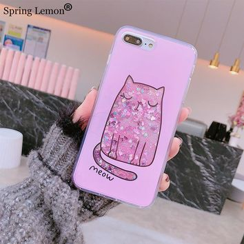 Spring Lemon The Meditation Thinking Meow Fat Cat Quicksand Liquid Silicone Case Cover for iphone 8 8plus X 6splus 7 7plus 6