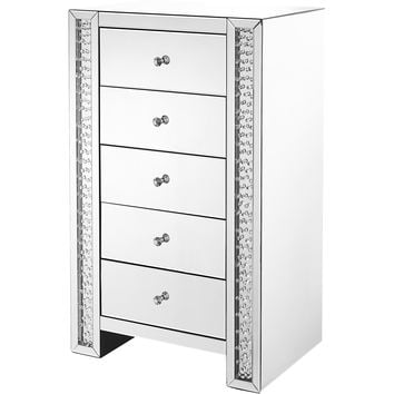 """Modern 29"""" Crystal 5-Drawers Chest, Clear Mirror Finish"""