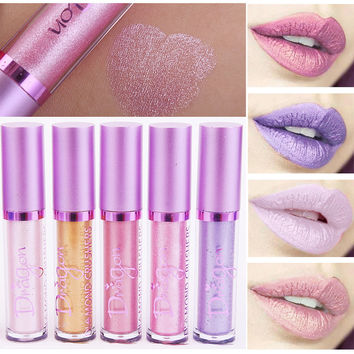 Brand Batom Lip Gloss Long Lasting Matte Lip Metals Tint Waterproof Gold Pink Shimmer Liquid Lip Metallic Lipstick Matte Makeup