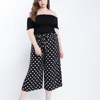 Plus Size Polka Dot Flowy Pants