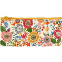 "Blue Q Pencil Cases Flower Field 4 1/4"" x 8 5/8"" 95% Post Consumer Recycled Material"