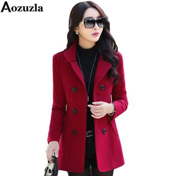 Women Blazers And Jackets 2017 Fashionable Plus Size M-3XL Double Breasted Button Blazers Wool Coat Winter Blaser Femenino Y466