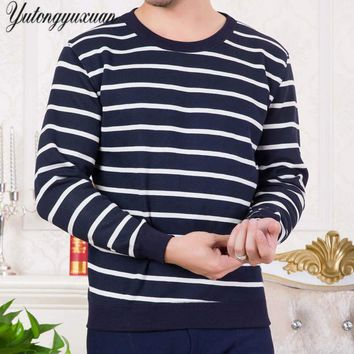 L-3XL 2017 Autumn Winter New Men's Striped printing Sweaters Patchwork Quality Pullover Men's O-neck Casual Men's Sweater Knit