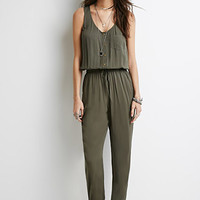 Button-Front Drawstring Jumpsuit