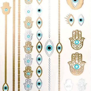 Evil Eye Hamsa Hand Metallic Temporary Tattoo [Turquoise Gold and Silver]