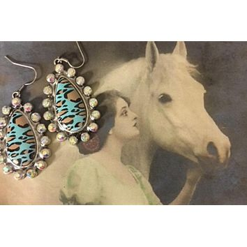 Western Leopard Cowgirl Teardrop Rhinestone Earrings