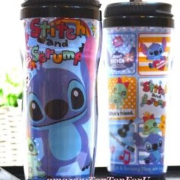 Disney Stitch Plastic Double Wall Thermos Travel Mug Coffee Tea Cup Lid 13-ounce