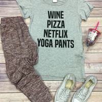 Pizza Netflix Yoga Pants: Grey