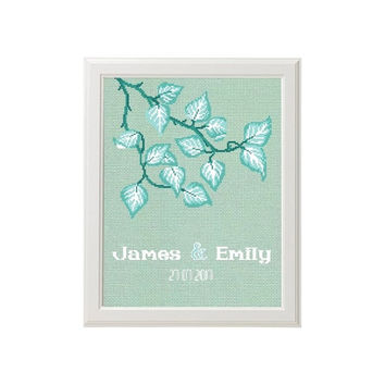 Tiffany blue wedding gift cross stitch pattern, just married announcement, Gift for couple, Mr & Mrs, Cross Stitch Wedding,  Embroidery