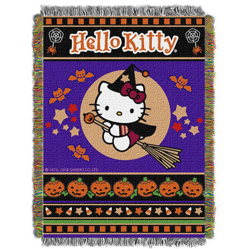 Hello Kitty Witchy Kitty  Woven Tapestry Throw (48inx60in)