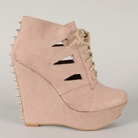 Carlene-04 Suede Studded Spike Cut-Out Wedge Bootie