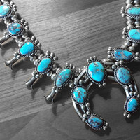 Vintage Blue Turquoise Squash Blossom Native American Necklace, Large Squash Blossom Naja Necklace in 925 Sterling Silver, High Quality