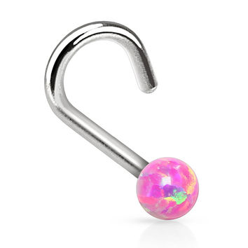 BodyJ4You® Nose Ring Screw Stud Pink Opal Stone Surgical Steel 20G Body Piercing Jewelry