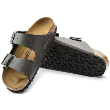 Sale Birkenstock Arizona Birko Flor Pull Up Anthracite 1000127 Sandals